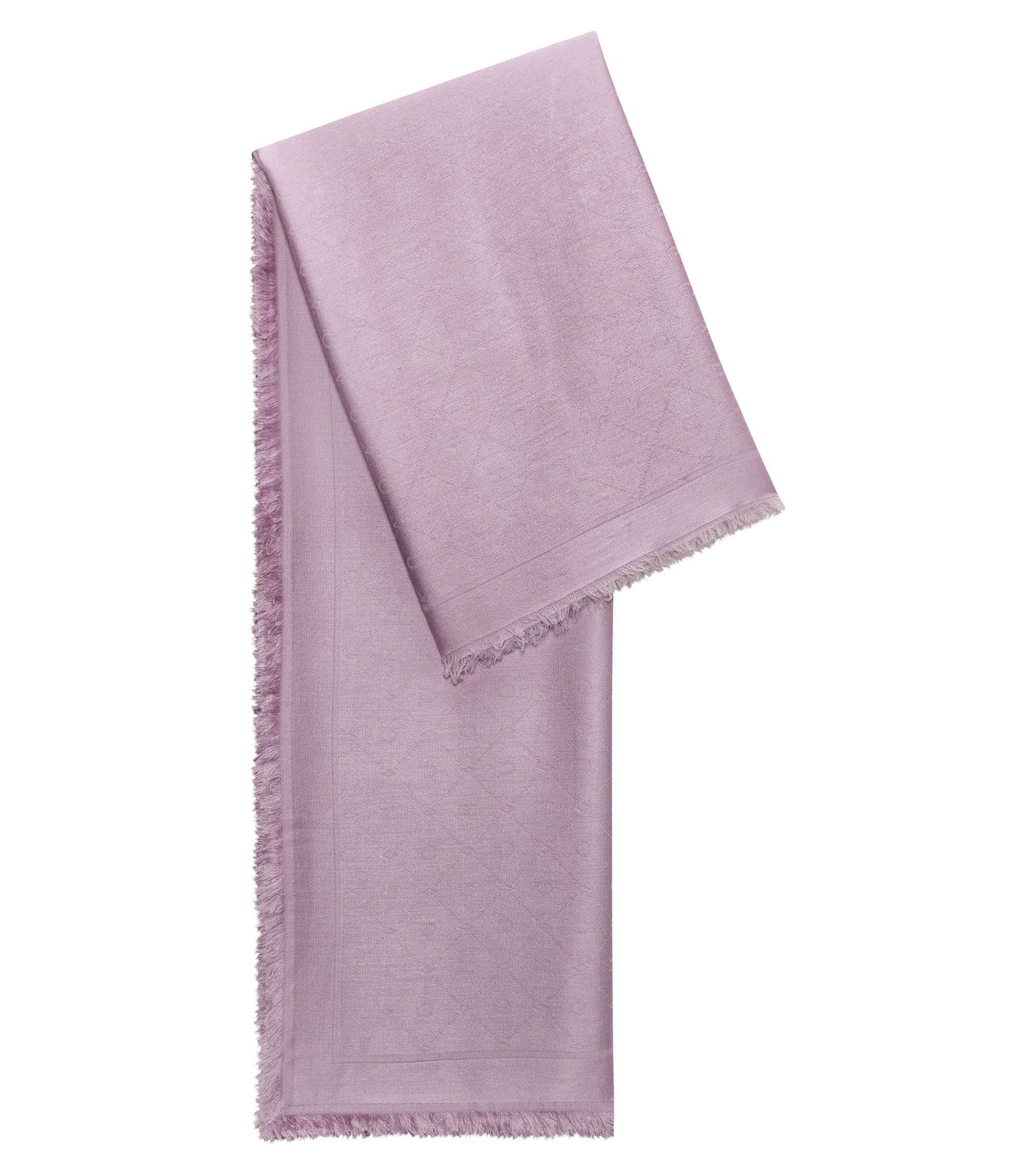 Jacquard scarf with tonal logo pattern, Dark pink