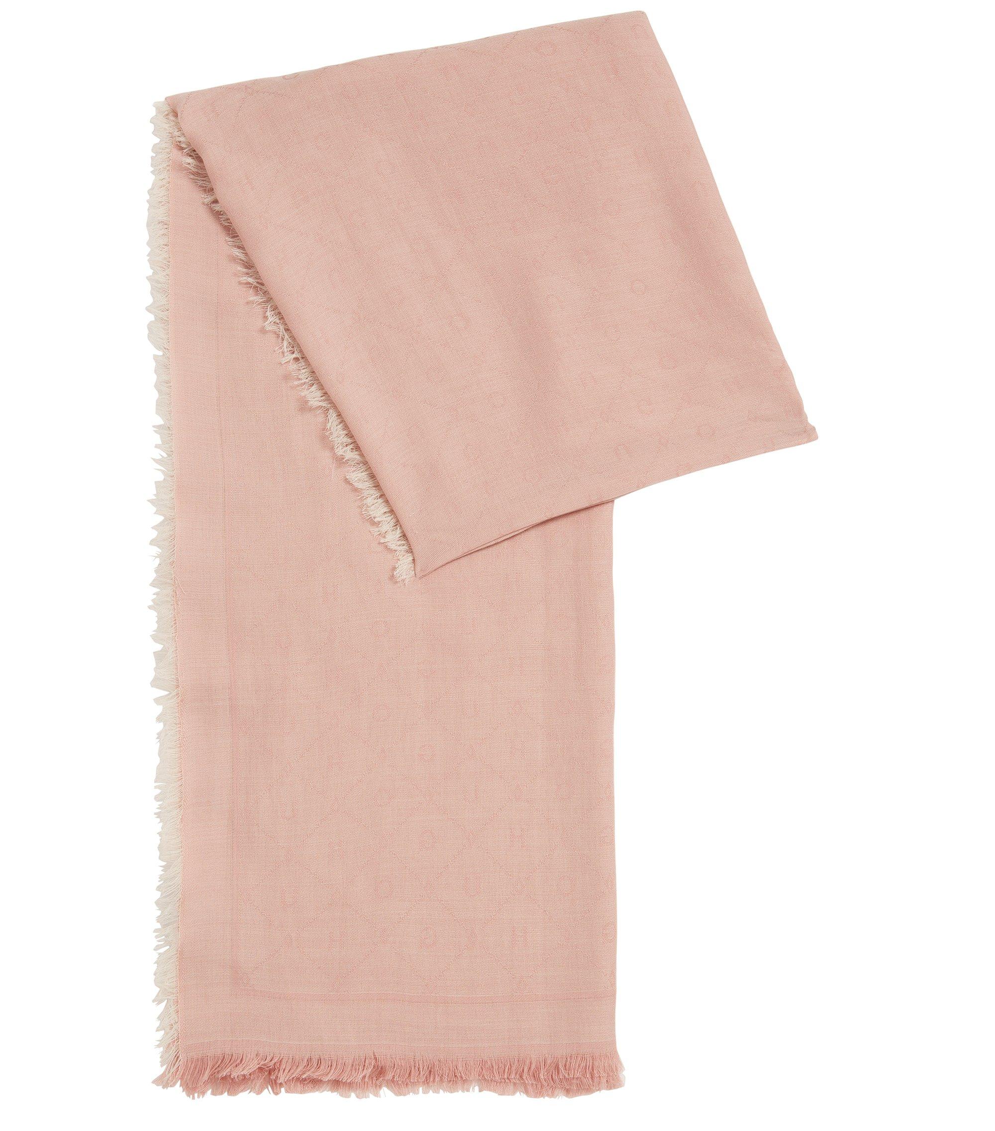 Jacquard-Schal mit Ton in Ton gehaltenem Logo-Muster, Hellrosa