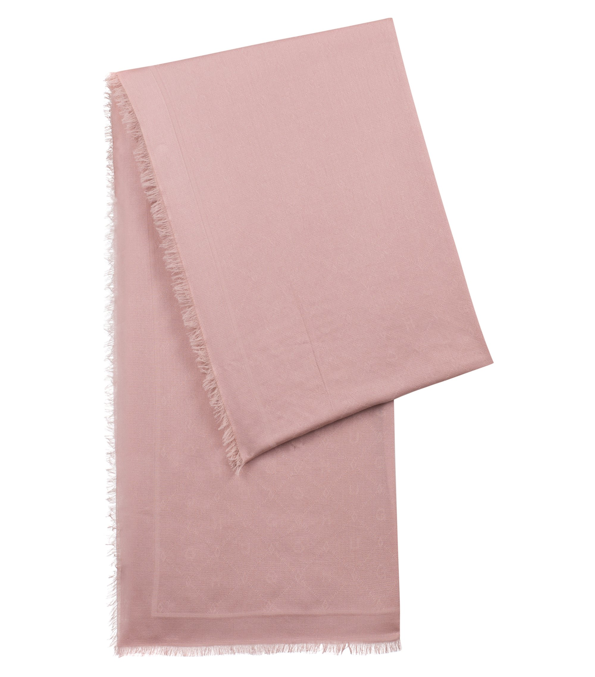 Jacquard scarf with tonal logo pattern, light pink