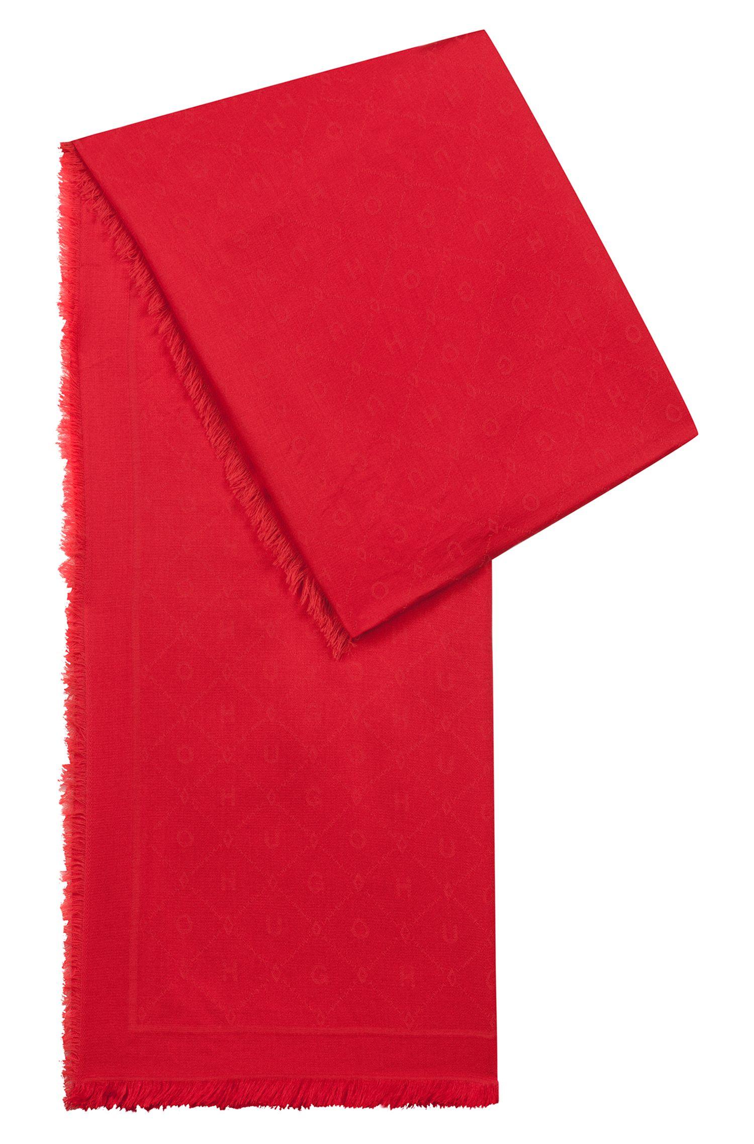 Jacquard scarf with tonal logo pattern, Pink