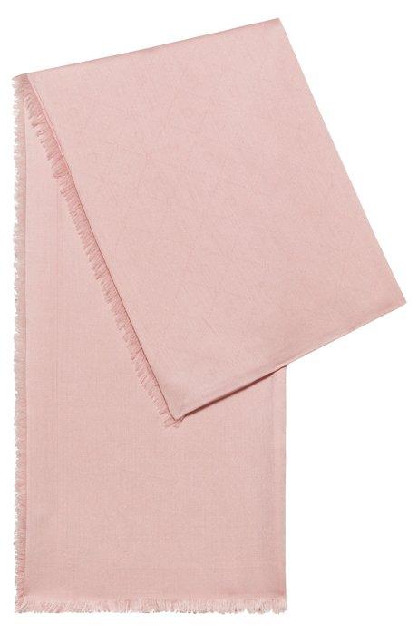 Jacquard scarf with tonal logo pattern, light pink
