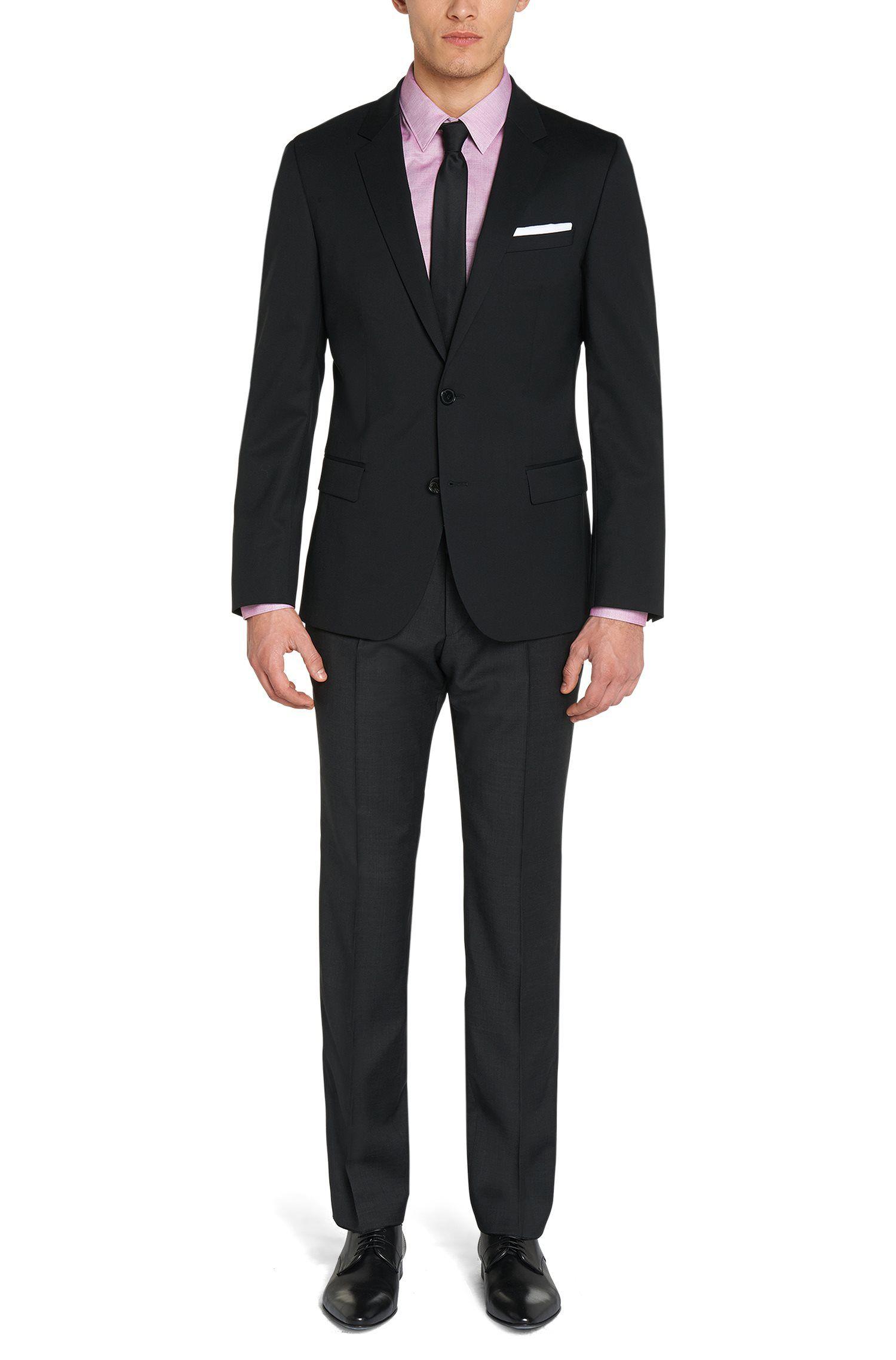 Veste de costume Slim Fit en laine mélangée, Noir