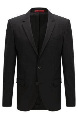 Slim-fit suit jacket in a wool blend , Black