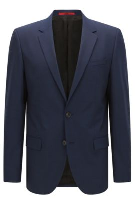 Slim-fit suit jacket in a wool blend , Dark Blue
