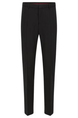 Slim-leg trousers in a wool blend, Black