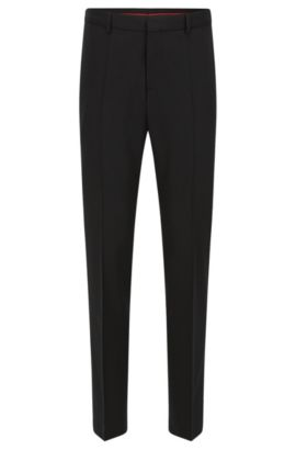 Slim-leg trousers in a wool blend, Black