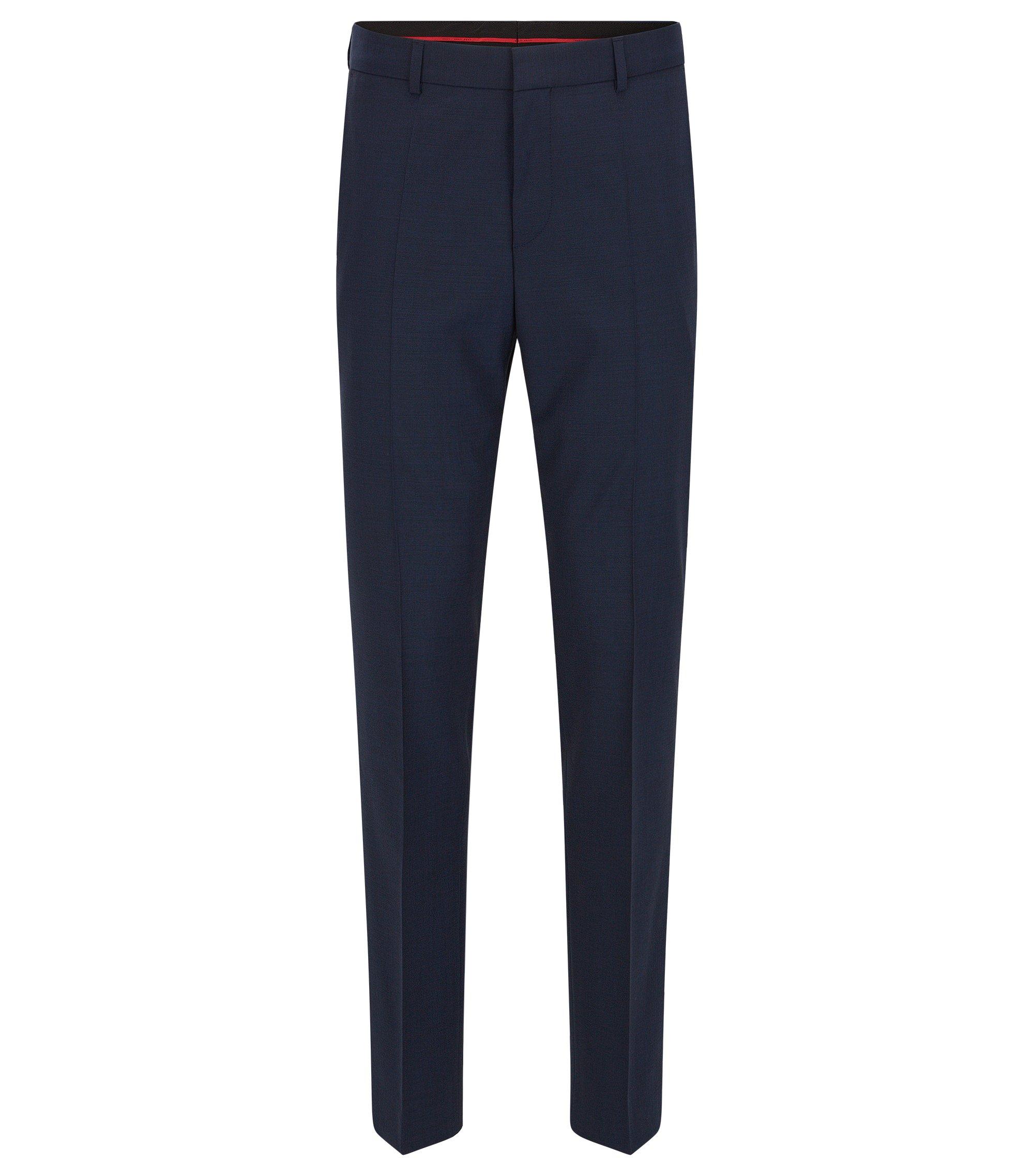 Pantaloni con gamba slim in misto lana , Blu scuro