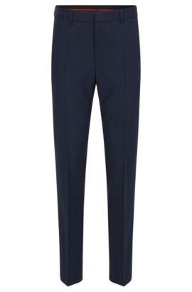 Pantalon à jambes slim en laine mélangée, Bleu foncé