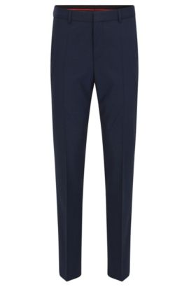 Slim-leg trousers in a wool blend, Dark Blue