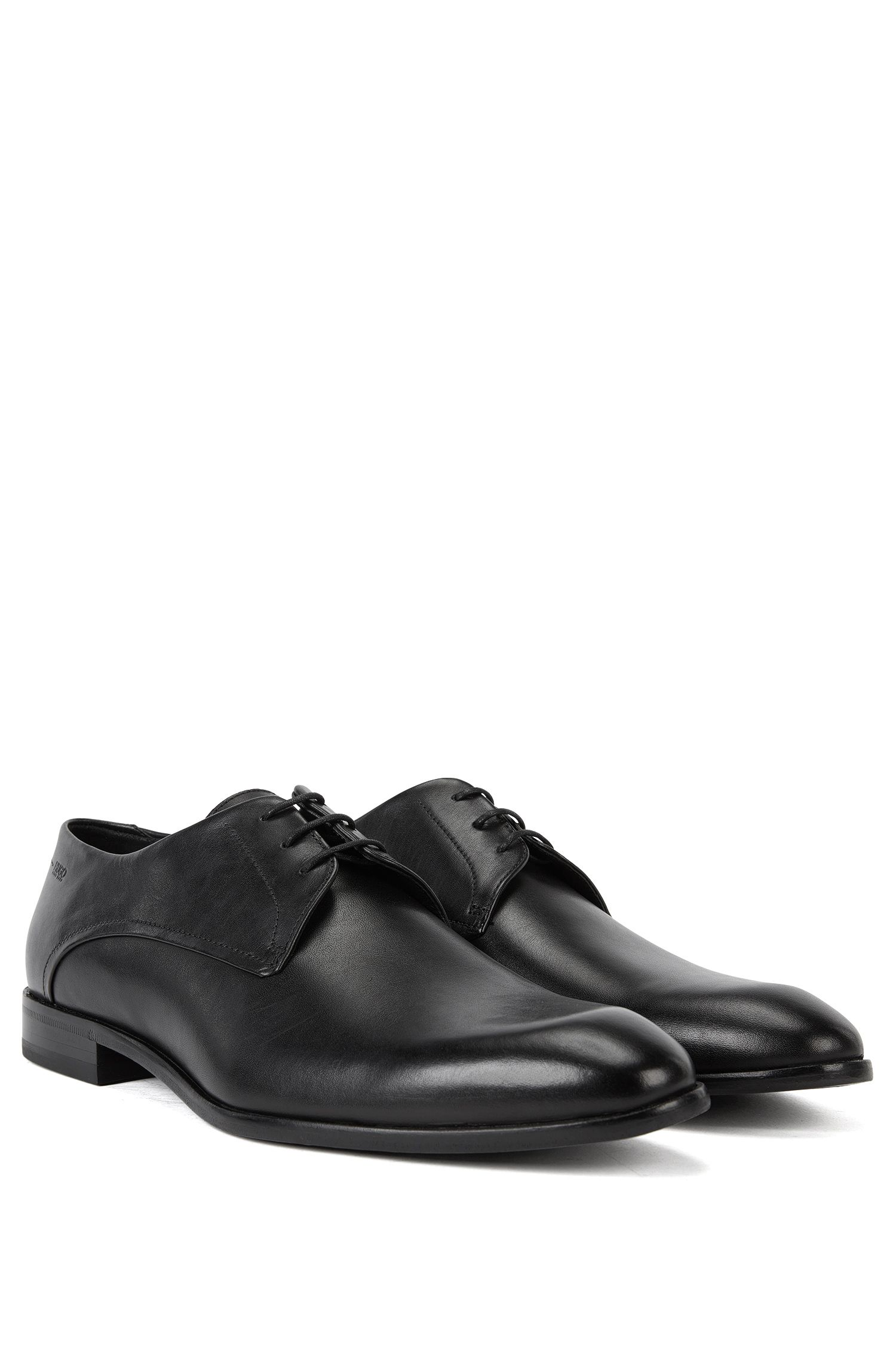 Leather Derby shoes with turned-and-stitched detail by HUGO Man, Black