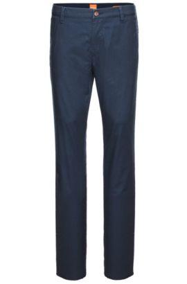 Slim-Fit Chino aus texturierter Stretch-Baumwolle: ´Sairy8-W`, Dunkelblau
