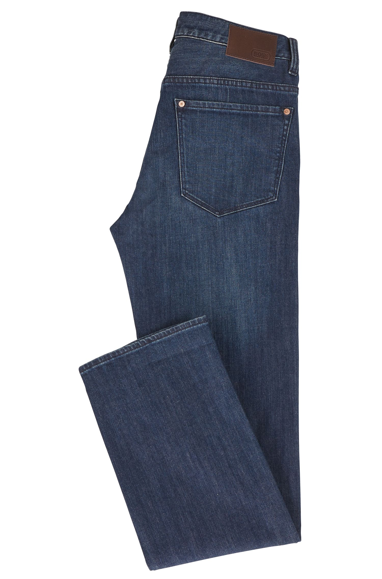 Jeans relaxed fit in denim elasticizzato con gamba diritta