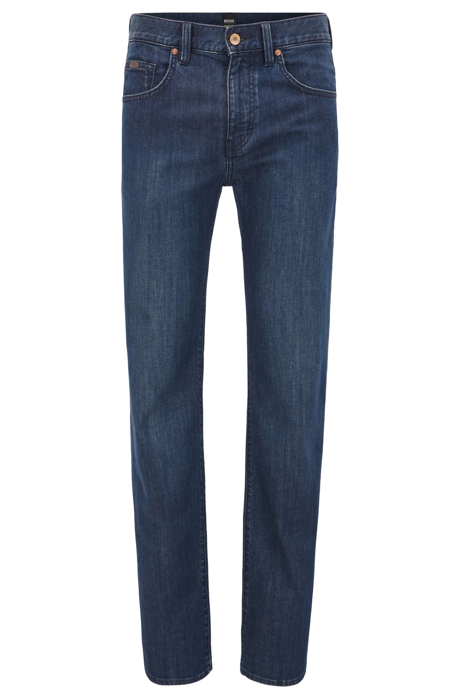 Relaxed fit stretch denim jeans with straight leg
