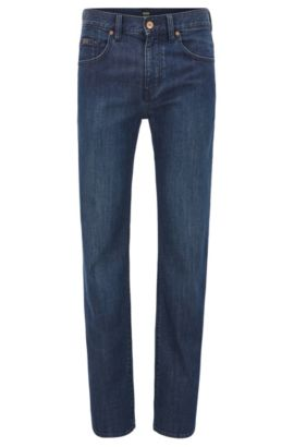 Relaxed fit stretch denim jeans with straight leg, Dark Blue