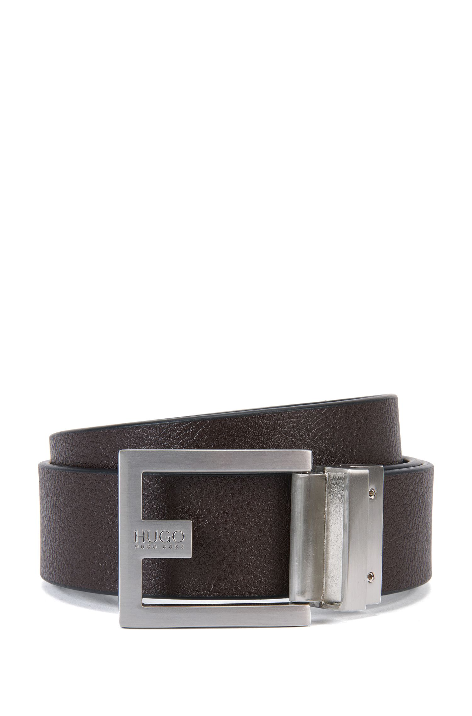 Reversible belt in grained leather: 'C-Fleming', Black