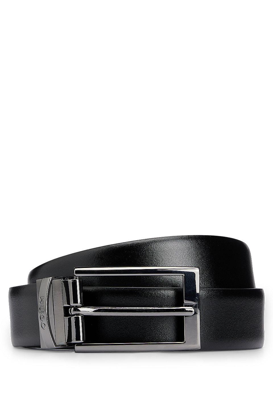 494c6fac641 HUGO - Cinturón reversible de piel lisa con herraje de metal pesado