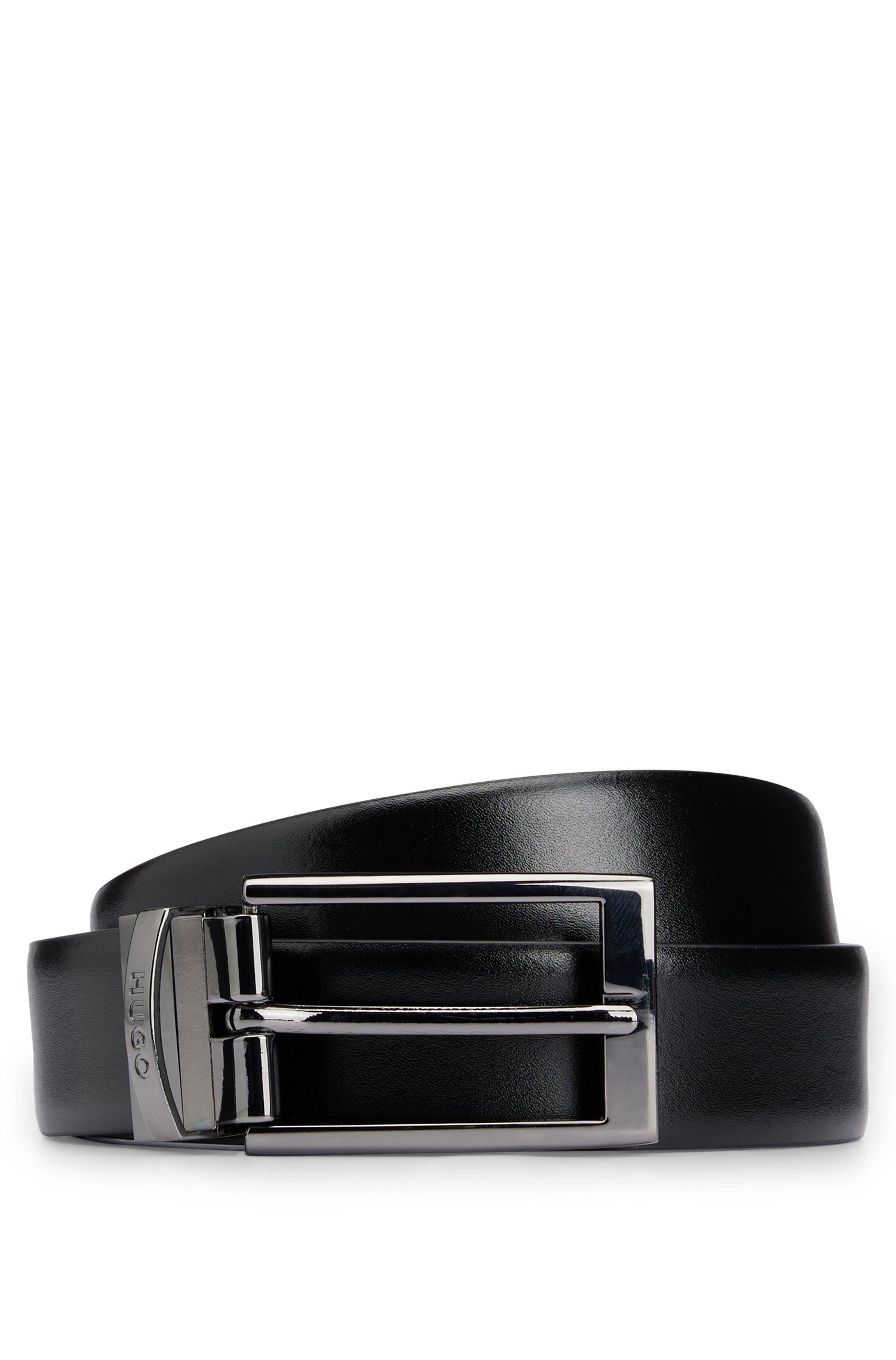 Reversible leather belt with polished gunmetal hardware, Black