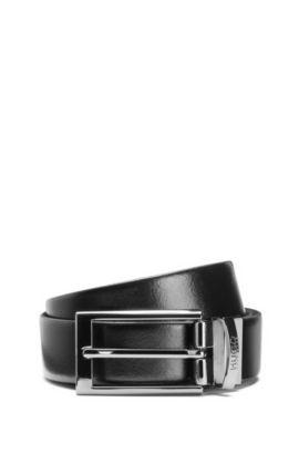 Smooth leather reversible belt with gunmetal hardware, Black