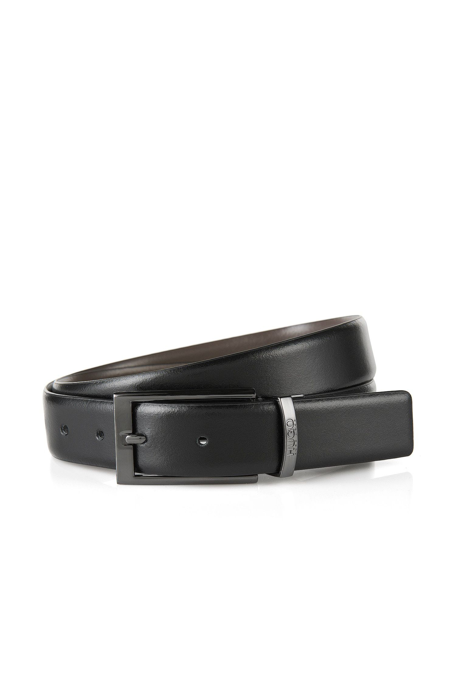 Smooth leather reversible belt with gunmetal hardware