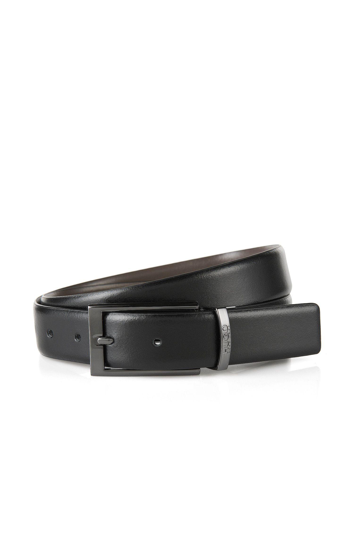Cintura reversibile in pelle liscia con dettagli color canna di fucile