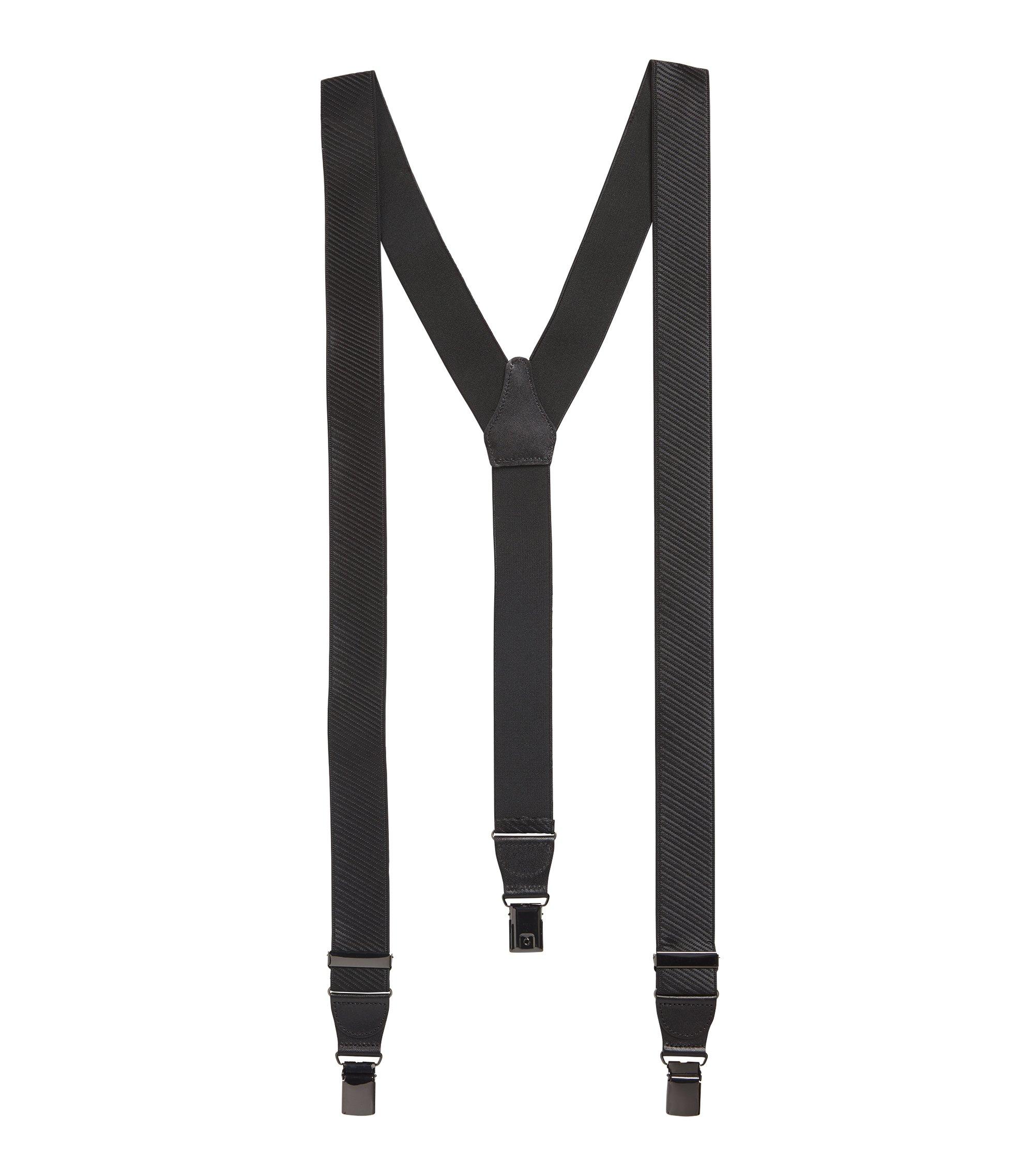 Hosenträger mit Lederbesätzen und Metall-Details in Geschenk-Box, Schwarz