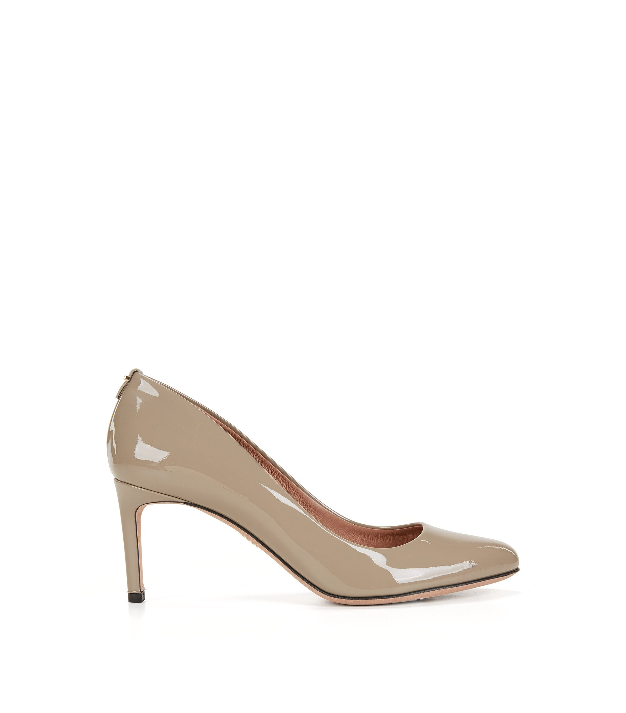 BOSS Luxury Staple pumps in Italian patent leather , Beige