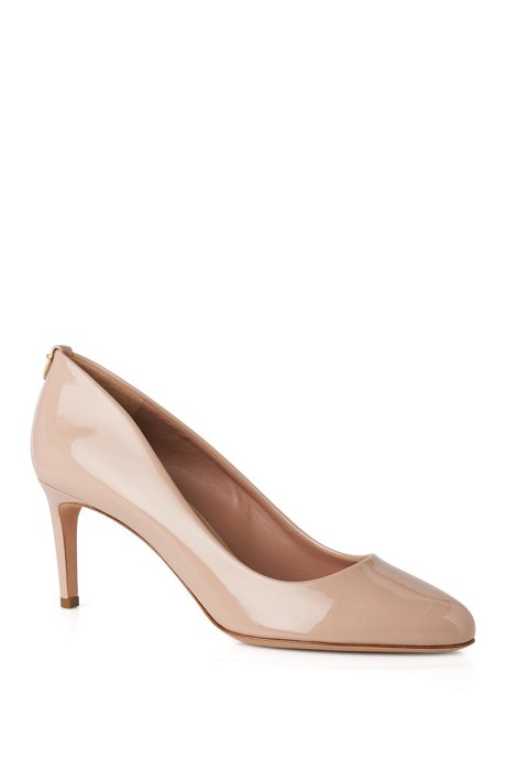 BOSS Luxury Staple pumps in Italian patent leather , Light Beige
