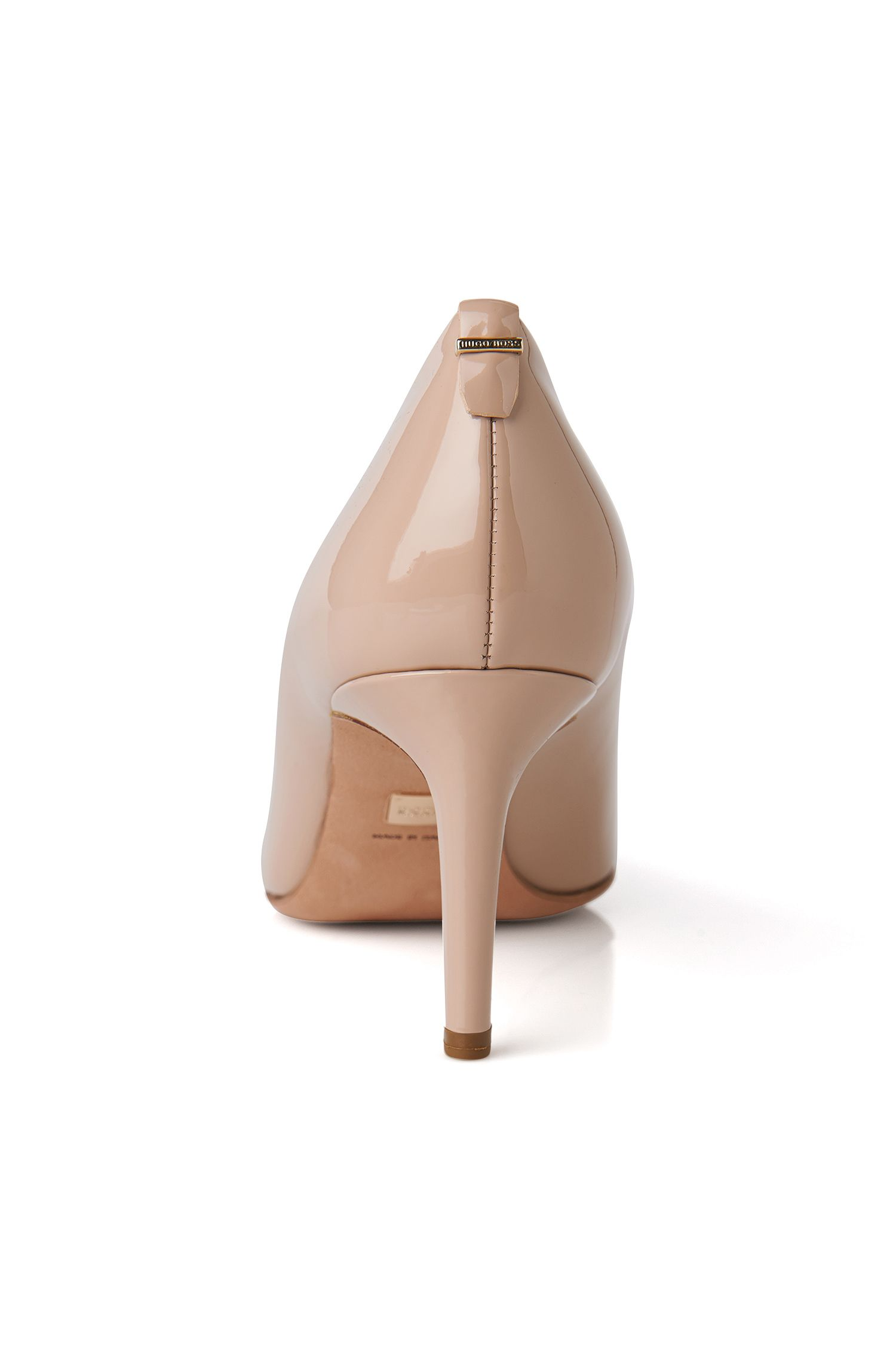 Escarpins BOSS Luxury Staple en cuir italien verni , Beige clair