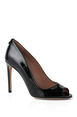 Leather peep-toes: 'Staple Opentoe 100-P', Black