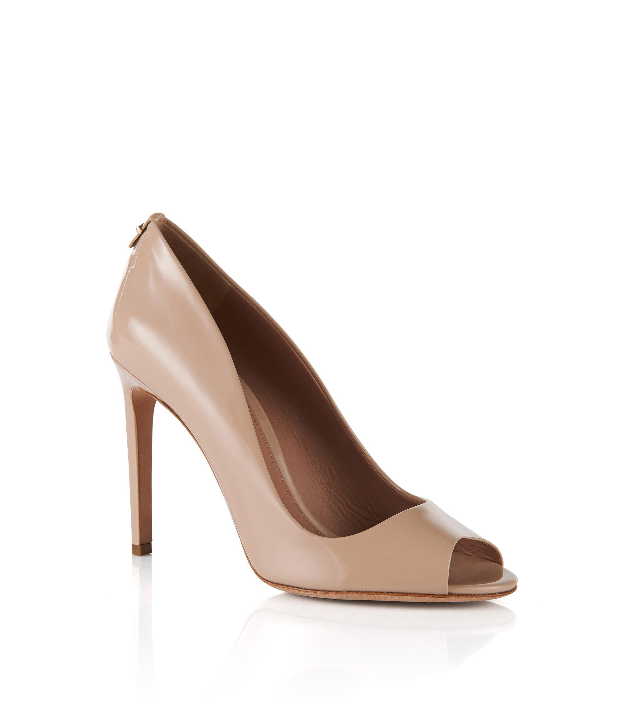 Chaussures à bout ouvert en cuir: «Staple Opentoe 100-P», Beige clair