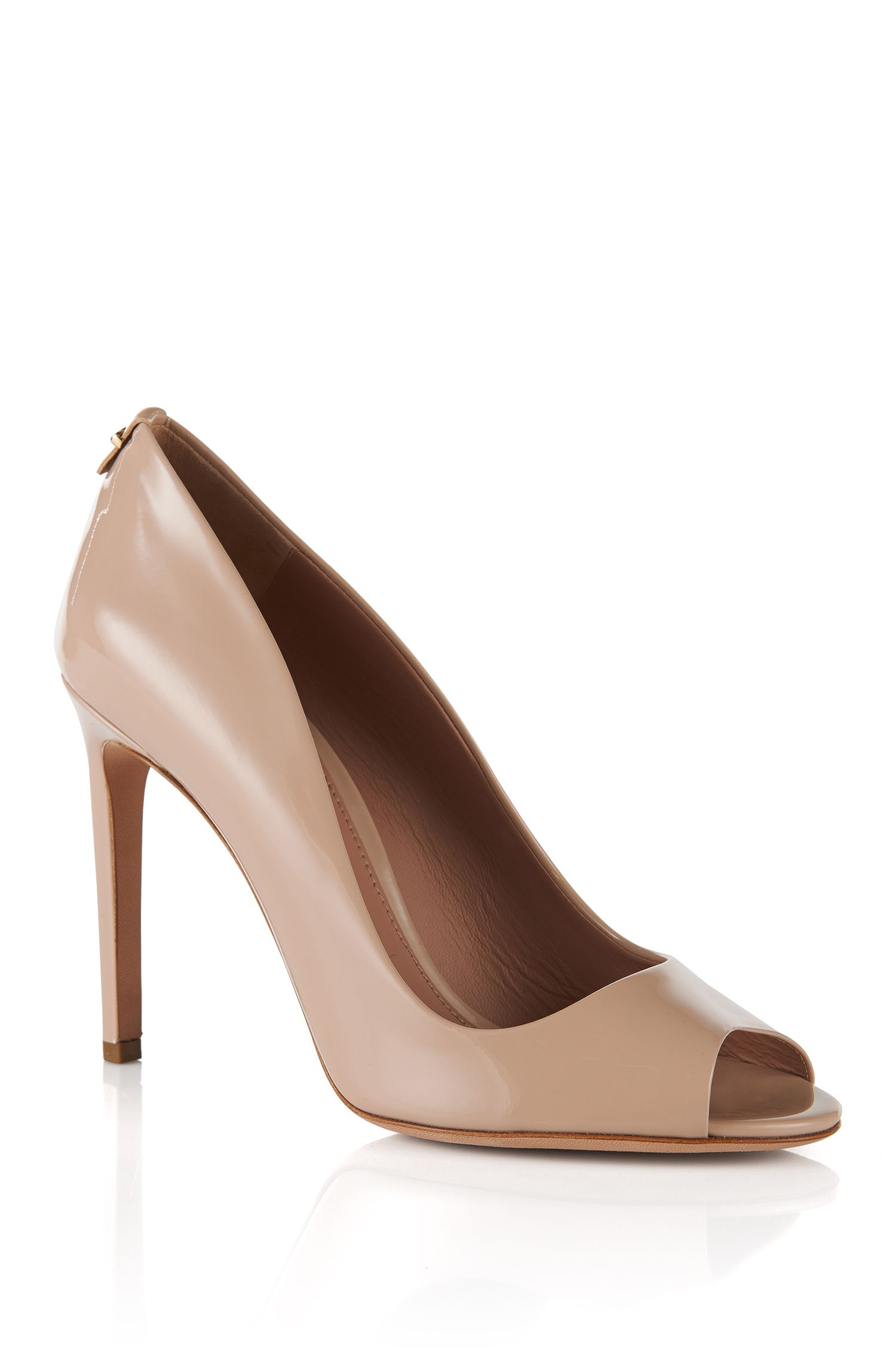 Leather peep-toes: 'Staple Opentoe 100-P', Light Beige