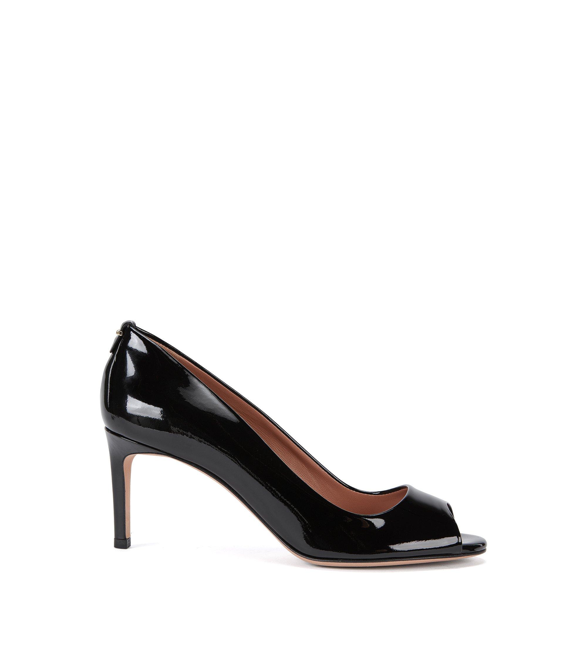 Escarpins à bout ouvert BOSS Luxury Staple en cuir italien verni, Noir