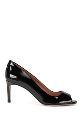 Luxury Staple open-toe pumps in Italian patent leather, Black