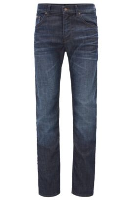 Regular-Fit Jeans aus elastischem Baumwoll-Mix: ´C-Maine1`, Dunkelblau