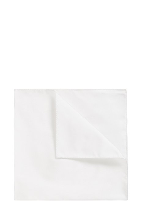 Italian-made pocket square in silk jacquard, White