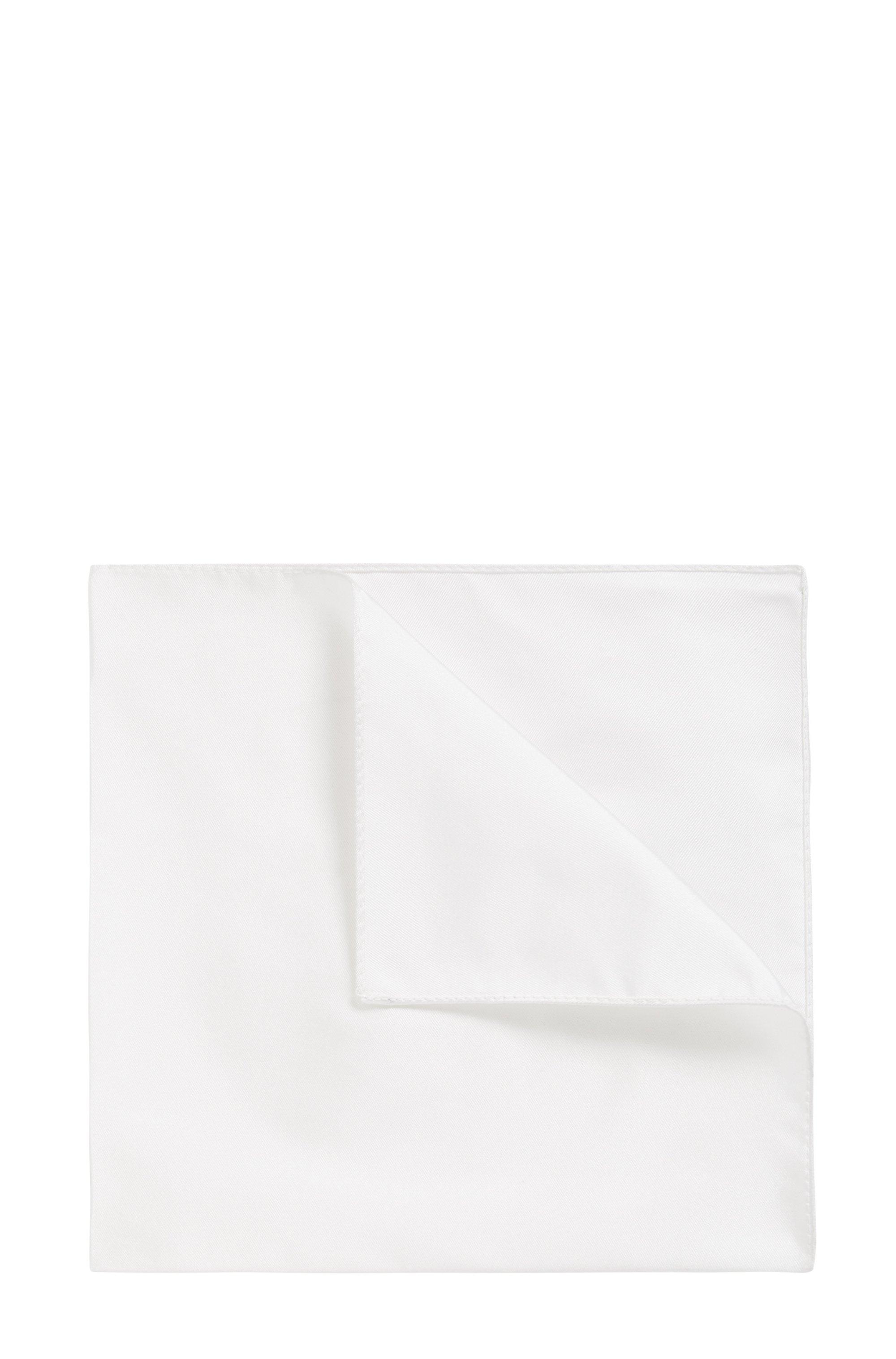 In Italien gefertigtes Einstecktuch aus Seiden-Jacquard, Weiß