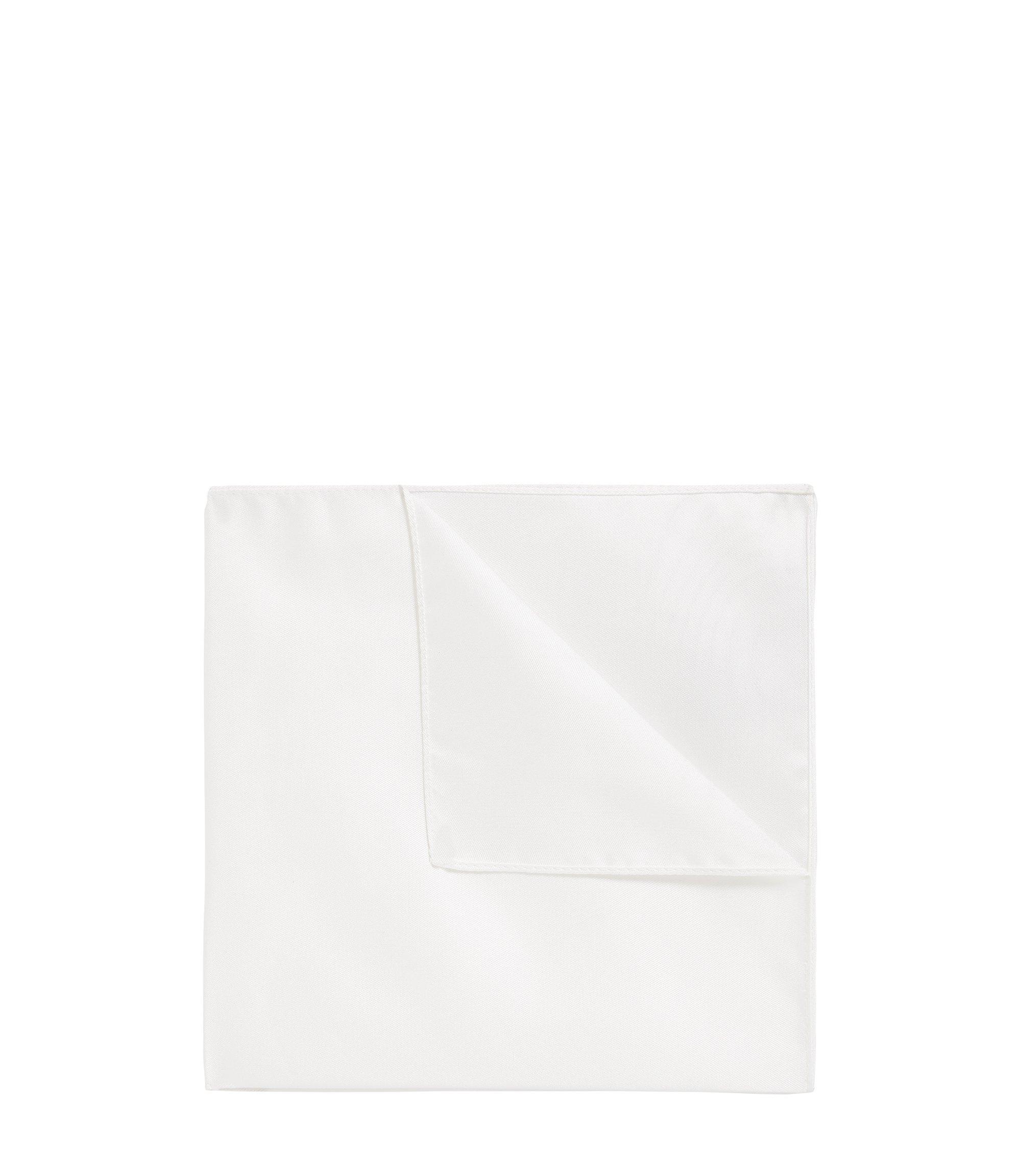 Pañuelo de bolsillo de jacquard en pura seda, Blanco
