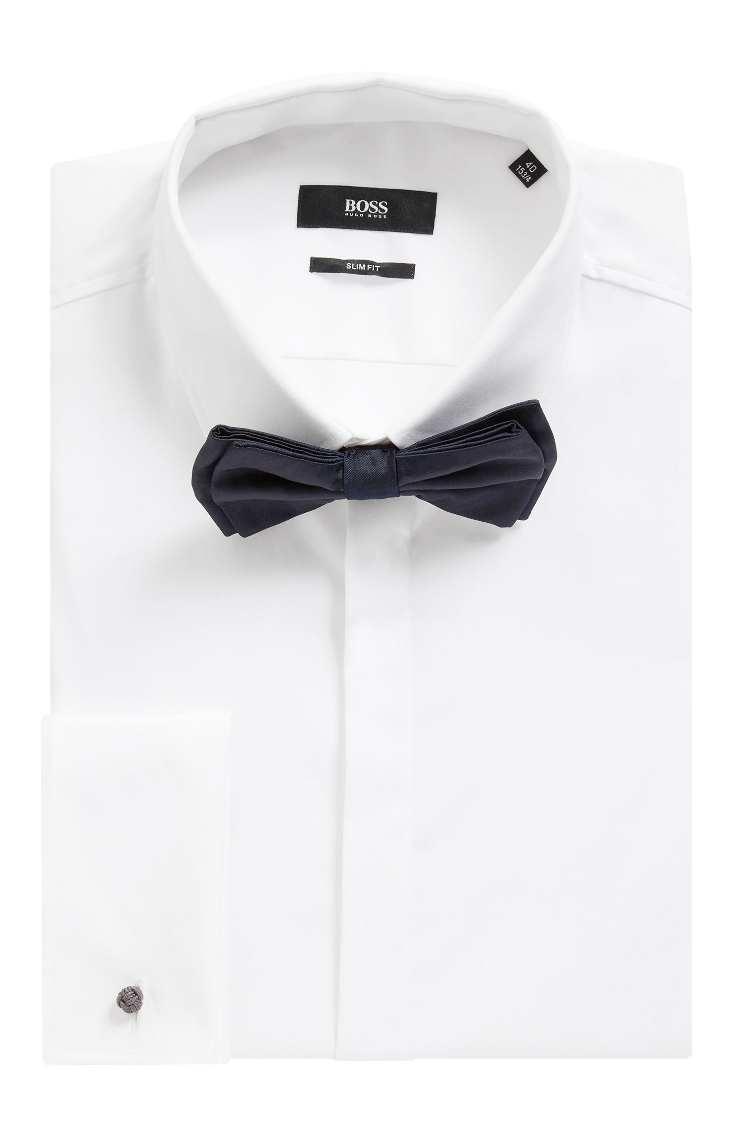 Italian-made bow tie in pure silk, Dark Blue
