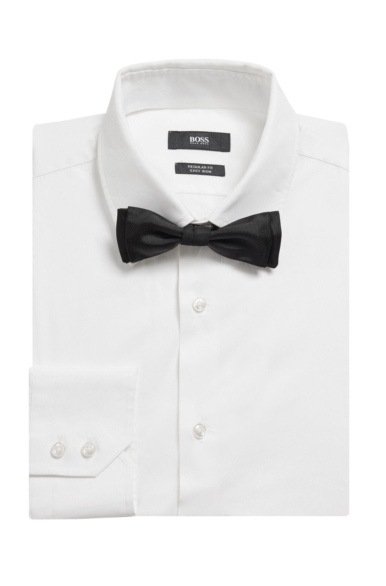 Italian-made bow tie in pure silk, Black