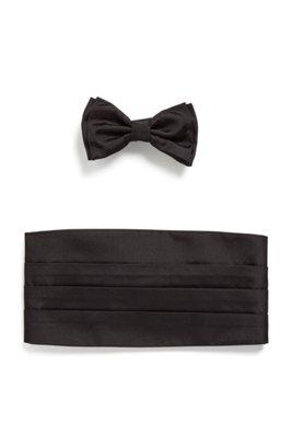 Bow tie and cummerbund set in silk jacquard, Black