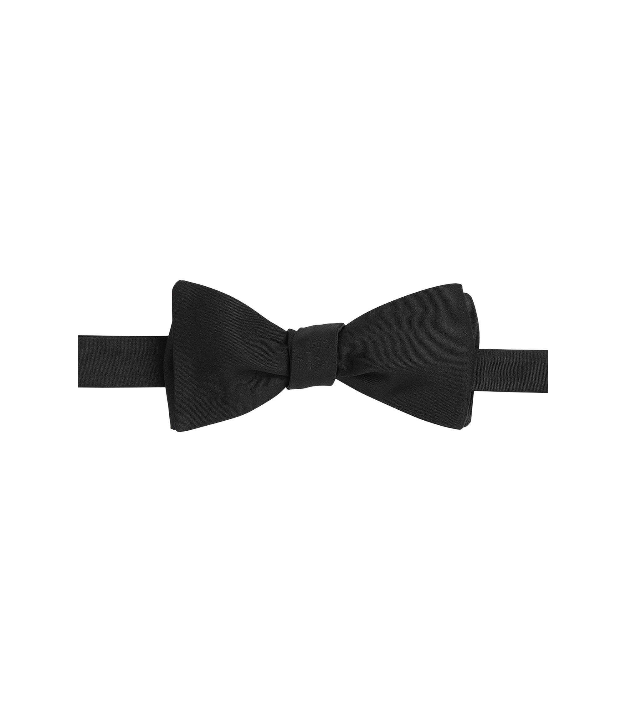 Italian-made bow tie in pure silk, Black