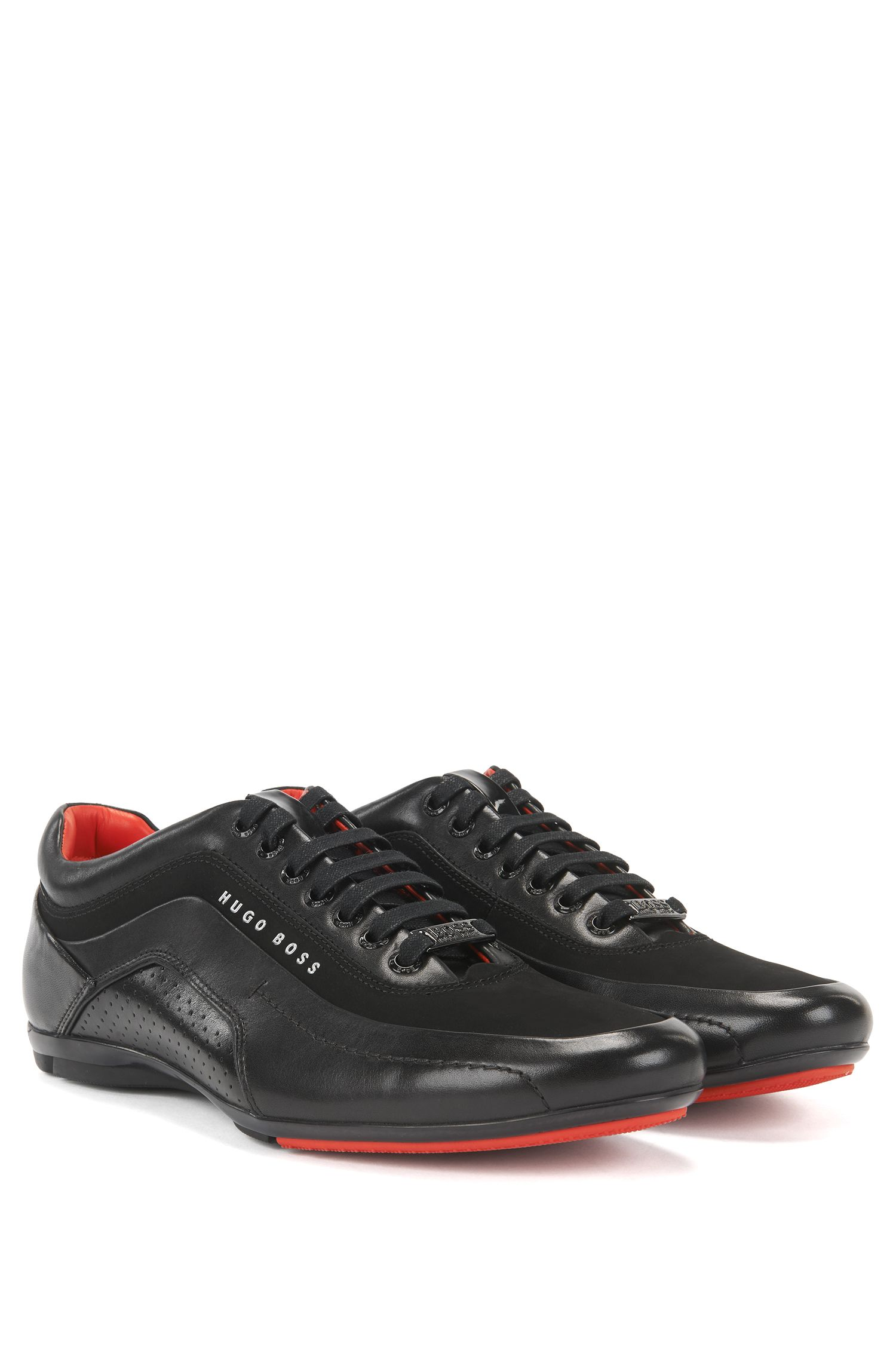 Trainers in leather and carbon fibre, Black