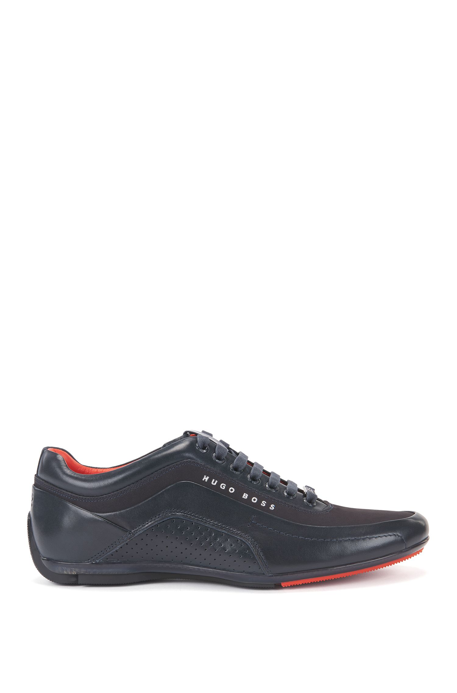 Trainers in leather and carbon fibre, Dark Blue