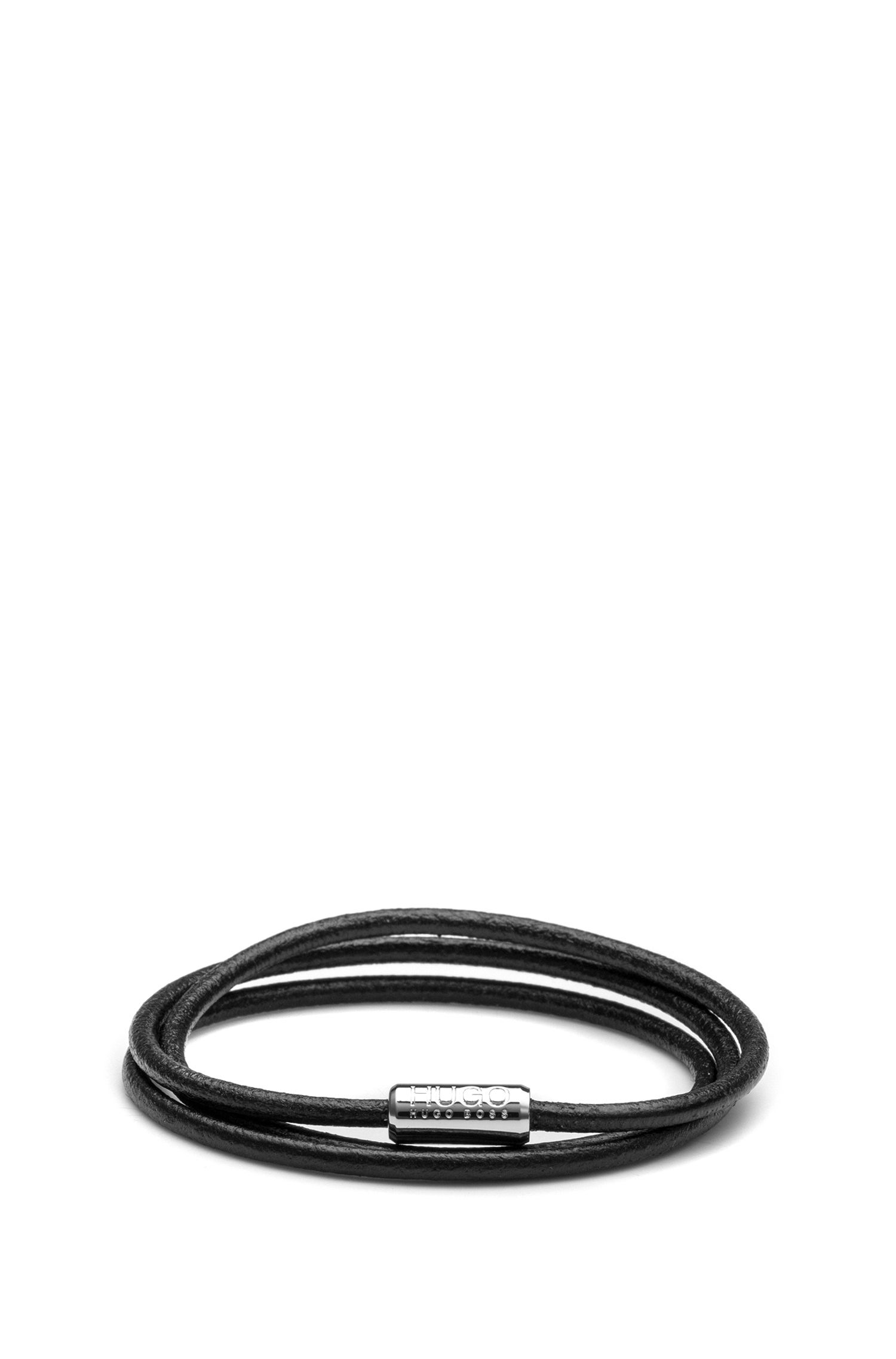 Italian-leather cord bracelet with magnetic closure, Black