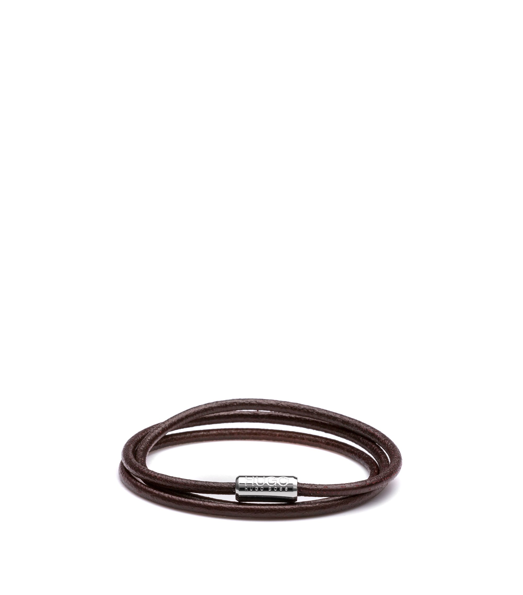 Leather bracelet with magnetic clasp: 'E-ELEMENT', Dark Brown