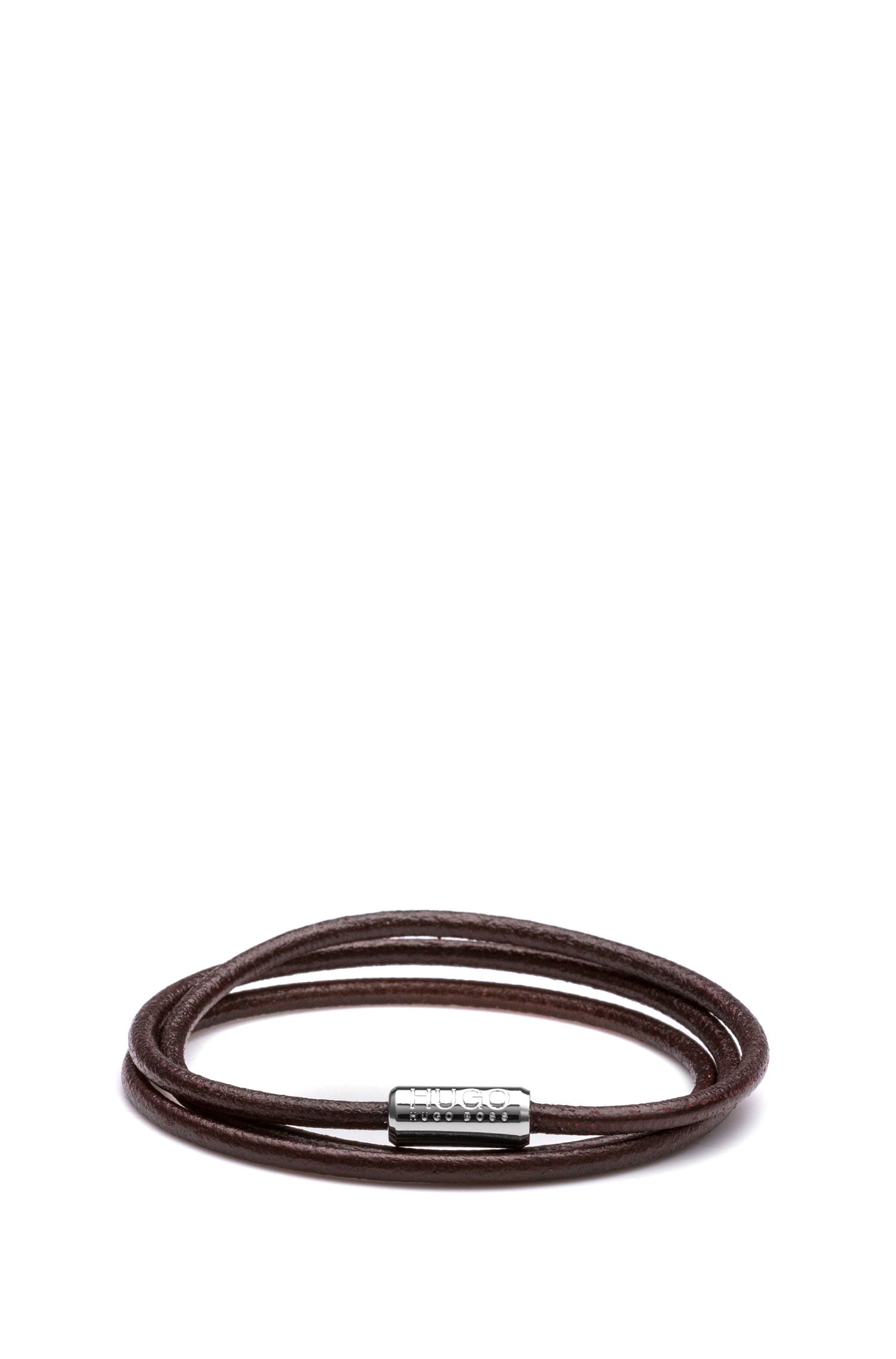 Italian-leather cord bracelet with magnetic closure, Dark Brown
