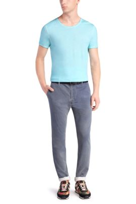 Tapered-Fit Chino aus Baumwolle  mit Struktur: ´Sandrew2-W`, Hellblau