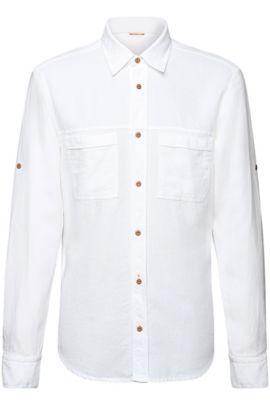 Regular-fit overhemd van katoen: 'ClasseE', Wit