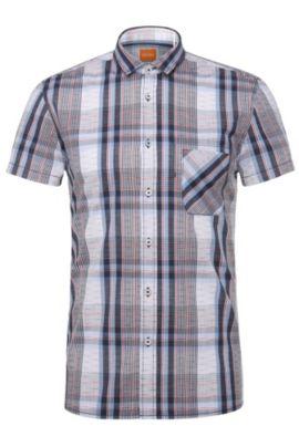 Regular-Fit Freizeit-Hemd im Karo-Dessin: ´EzippoE_1`, Dunkelblau