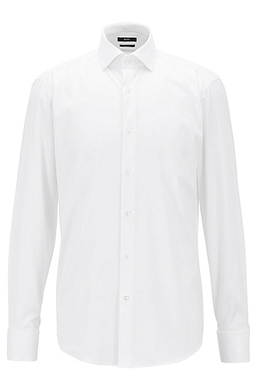 BOSS男装系列常规版纯棉尖领衬衫,  100_白色